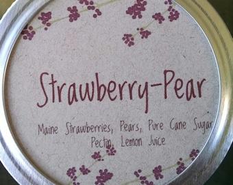 Strawberry Pear Jam, Maine Strawberries, Maine Made, half pint