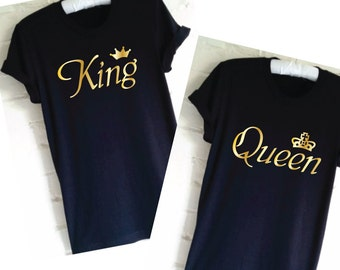 King and Queen T-Shirts. Couple Shirts. Matching Shirts. Set of Wedding Shirts. Honeymoon Shirts. Gifts For The Couple. Mr and Mrs Shirts.