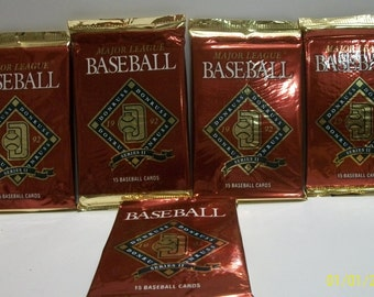 1992 Donruss Series II  - 5 Unopened Maroon Foil Packs MLB Baseball Trading Cards & Puzzles  New In Packages