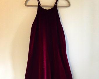 Bordeaux Crushed Velvet Dress
