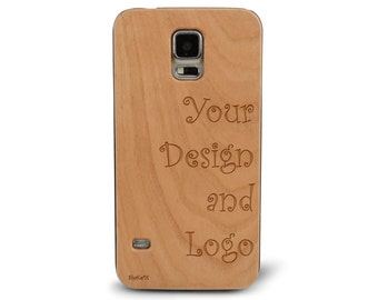 Laser Engraved Your Own Design on Genuine Wood Cell phone Case for Galaxy S5, S6 and S6Edge (no minimum order required)