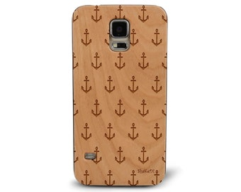 Laser Engraved Sketched Sailor's Fashion Anchor Galore Pattern on Genuine Wood phone Case for Galaxy S5, S6 and S6Edge S-021