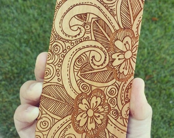 Laser Engraved Leafy Floral Plumeria Doodle Inspired Pattern Wood Phone Case for iPhone 5/S, 6 and 6 plus IP-012