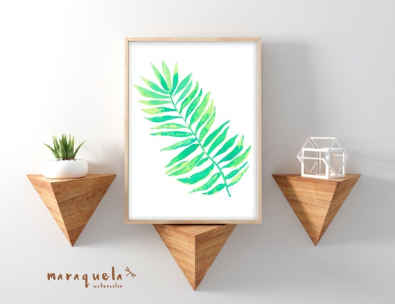 PALM LEAF I Watercolor, Tropical Plants Botanical art, Green leaf Nature art, tropical decor, Monstera leaves watercolor original painting