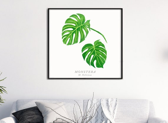 Monstera Leaf III Watercolor, Tropical Plants Botanical art, Green leaf Nature art, Spring decor, Monstera leaf watercolor original painting