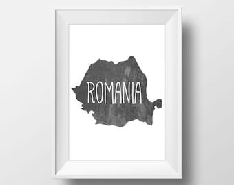Romania Chalkboard Printable Art, Romania Print, Romania Art, Romania Wall Art, Modern Art,