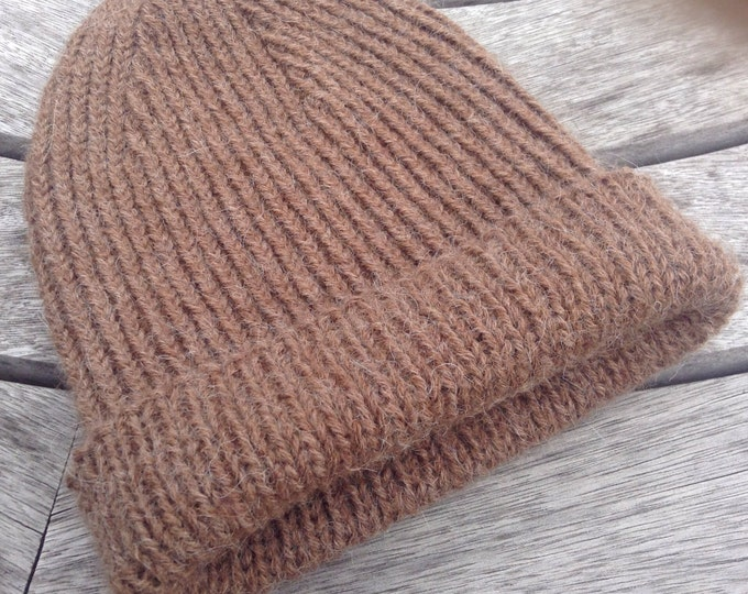 Gents reversible ribbed brown pure alpaca watch cap / hat by Willow Luxury