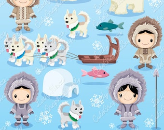Eskimo clipart, north pole clipart, native clipart, wolf clipart, igloo, fish, eskimos, eskimo, greenland, polar bear, snow -LN0116-