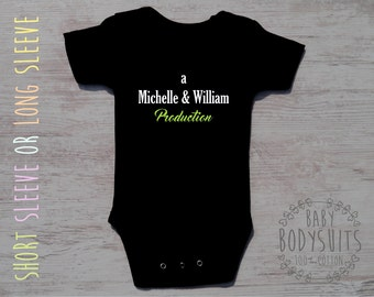 New Parents Gift, PARENTS PRODUCTION Black Bodysuit, Gender Neutral Baby Gift, Funny Gift For New Parents, Newborn Gift, Gender Neutral Baby