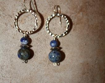 120 Sodalite and silver charm dangle earrings, sterling ear wires, boho, artisan