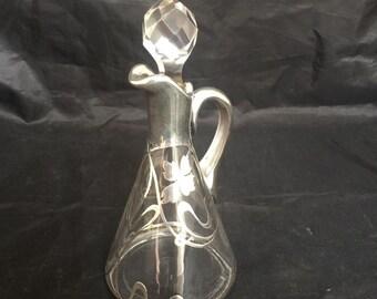 Antique Glass Cruet Sterling Silver Overlay Art Nouveau Victorian Vintage Home Decor Gift Idea