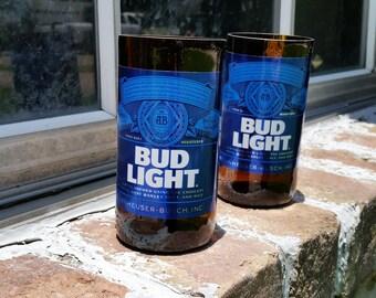 Set of 2 upcycled Bud Light glasses
