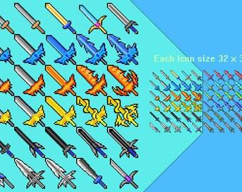 RPG game iconset 60 pixel Sword sprite