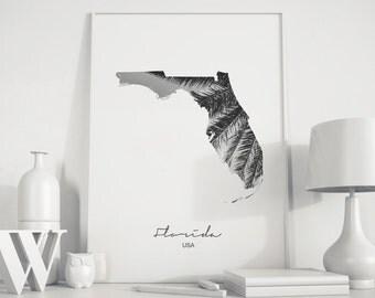 Florida state Florida map Palm tree print photo art Black White Photography Palm tree art Minimalist art black and white prints Florada art