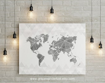 World map, world map poster, triangle art, geometric art, Scandinavian art, world map art, triangle map, Modern minimalist, Gray world map