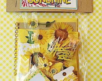 ON SALE Sunshine Mini Kit, Letterwriting set, stationery , Happy Mail , Snail Mail , Pen Pal