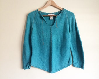 Vintage 90s Sweater: handmade, festival, boho, hippie, faux suede stitching, turquoise, Susan Bristol