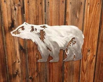Bear wall art.   metal bear wall art,  metal wall art,  hand crafted, handmade, metal artwork, aluminum and steel