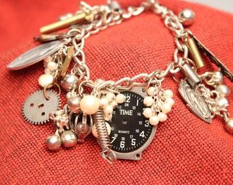 Watch Face Steampunk Charm Bracelet