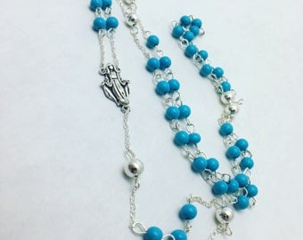 Handcrafted Cultured Turquoise and Silver Rosary