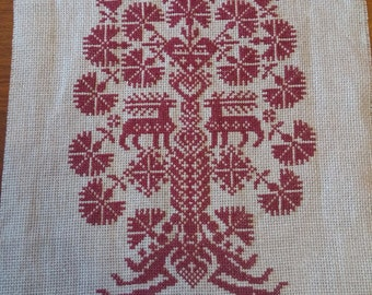 Christmas embroidery on linen