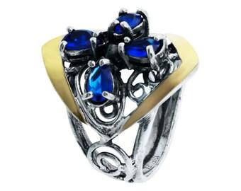 Blue zircon Ring, zircon Ring Silver, zircon Statement Ring, Zircon Silver Ring, Zircon Sterling Silver Ring,  Handmade