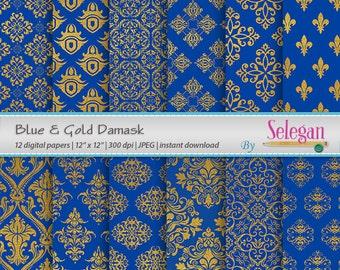 Blue Gold Damask, Digital Paper, Scrapbooking, Paper, 12x12, Royal, Printable, Pattern, European, Texture, Golden, Background
