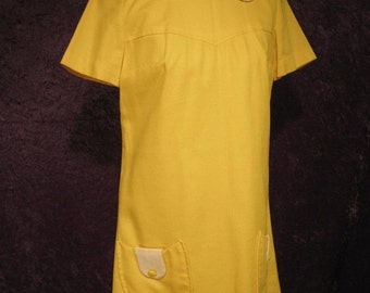 On Sale Early 1970's Chrome Yellow Mini Dress Short Sleeves