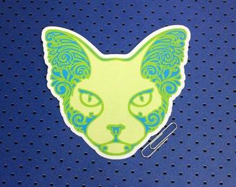 Green Sphynx Cat Bumper Sticker