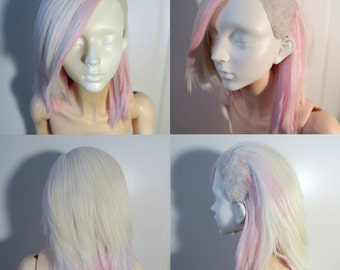 Long Arcus Undercut Alpaca wig white/pink 8-9 SD BJD