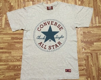 Vintage Early 90s CONVERSE All Star Chuck Taylor t shirt Heather Gray Medium Size