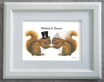 Mr & Mrs Squirrel Print - Funny Wedding Gifts - Red Squirrel - Squirrel gifts - Wedding Gifts - Wedding gift ideas - Squirrel Girl
