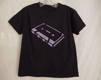 Cassette T-Shirt Youth Size 18 mo. to Size 2 Cassette Tape Handmade Tee Boy Girl Toddler Preschool