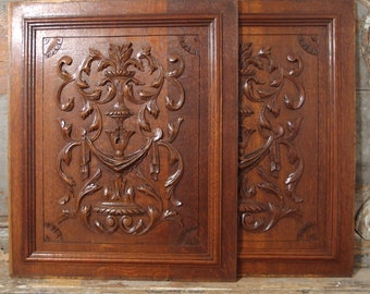 2 BOW ROCOCO Oak PANEL 21.4 in Antique French Hand Carved Wood Pediment 19 th