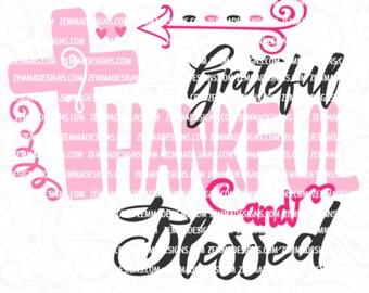 blessed svg - thankful svg - grateful svg - thankful and blessed svg - grateful thankful and blessed svg - god svg - Shirt svg Zemma Designs