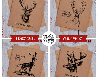Rude Christmas cards – PACK OF 4 – Deers, Funny Christmas Cards, Cheeky Christmas Cards, Sarcastic Christmas Cards