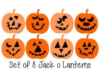 Set of 8 Cute Jack'O'Lanterns; SVG, DXF, PS, Ai and Pdf Digital Files for Electronic Cutting Machines
