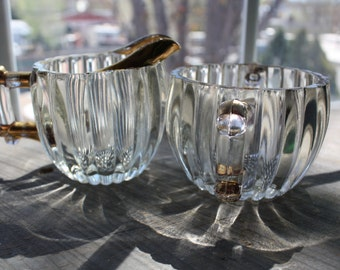 Jeanette Clear Ribbed Glass Sugar/Creamer Set