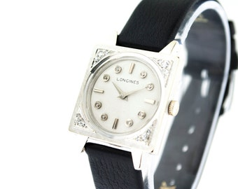Vintage Unisex 14kt White Gold Longines Watch w/ Leather Band