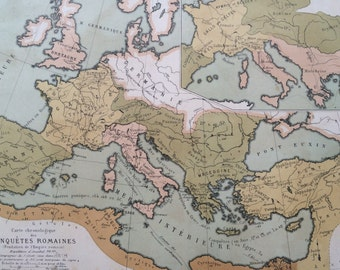 1903 ROMAN EMPIRE Antique Map - chronological map of roman conquests - French Language Map - Geography - Cartography - Historical Map