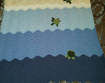 "45"" x 45"" Ocean Afghan With Baby Sea Turtles"