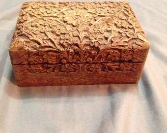 Vintage Carved Jewelry Box