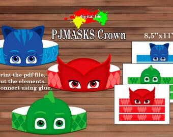 PJmasks Paper Crown, Paper crown, PDF, Instant Download
