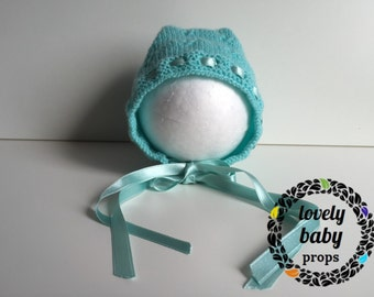 Newborn photo prop baby girl hat knitted bonnet