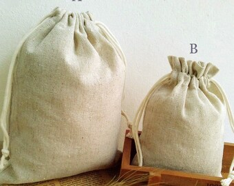 50pcs-Natural Linen Bags Drawstring Bags Promotional Bags Pouch Wedding Favor Gift Packaging Bags Jewelry Party Bags Supplies 170g/m2