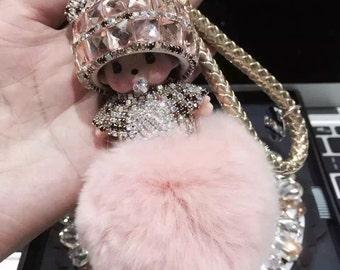 Champagne Rhinestone monchichi keychain light pink pom pomball , sparkly handbag charm fur bag charm, cute key chains car keys ring fluffy