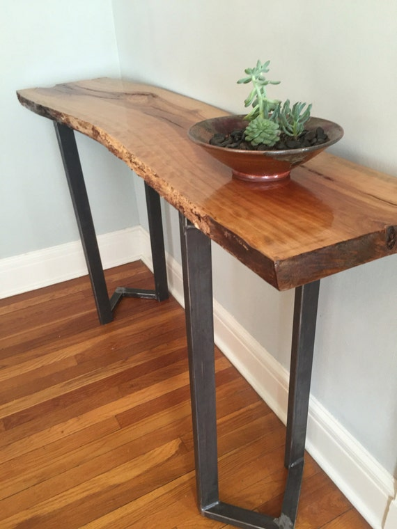 Foyer Table Name : Sofa table entryway live edge slab bar console