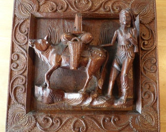 Vintage Balinese Framed, High Relief Carving of a Man & Cow