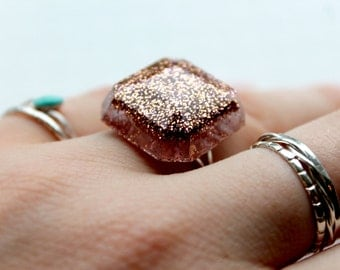 Ring, Resin Ring, Glitter Ring, Adjustable Ring, Resin Jewellery
