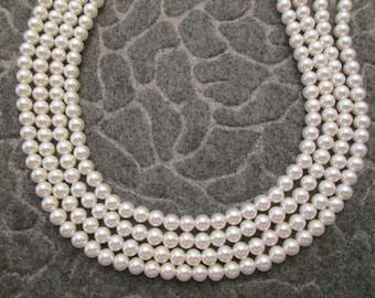 Gorgeous 4 strand PEARL Choker> never worn 1950's vintage Japanese> Rhinestone clasp